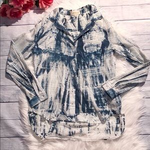 Anthro Cloth & Stone Tie Dye Button Down Blouse